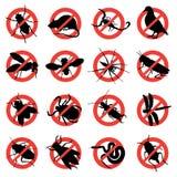 Segnali di pericolo del parassita e del roditore Fotografie Stock Libere da Diritti