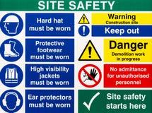 Segnali di pericolo di sicurezza del sito Fotografie Stock