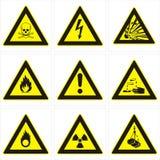 Segnali di pericolo pericolosi Fotografia Stock