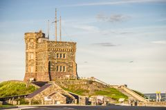 Segnali il sito storico nazionale della collina, il ` la s, Terranova di St John, può Fotografia Stock Libera da Diritti