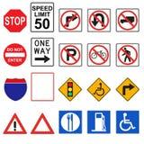 segnali stradali 3D (parte anteriore osservata) Fotografia Stock Libera da Diritti