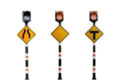 Segnali stradali alimentati solari, segnali stradali su fondo bianco Immagini Stock Libere da Diritti