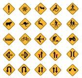 Segnali stradali d'avvertimento Fotografie Stock