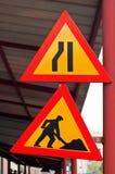 Segnali stradali della costruzione di strade Immagine Stock Libera da Diritti