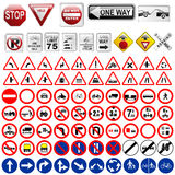 Segnali stradali e segnali Fotografia Stock Libera da Diritti