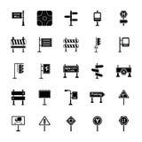 Segnali stradali ed icone di vettore di glifo delle giunzioni messe illustrazione vettoriale
