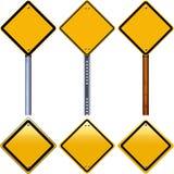 Segnali stradali gialli in bianco del rombo Fotografia Stock Libera da Diritti