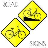 Segnali stradali gialli della bicicletta Fotografia Stock