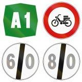 Segnali stradali utilizzati in Italia Fotografia Stock