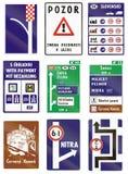 Segnali stradali utilizzati in Slovacchia Immagini Stock Libere da Diritti