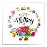 Segnando buona Festa della Mamma nel telaio del fiore Immagine Stock Libera da Diritti