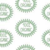 Segnando 100% con lettere organico, modello senza cuciture Immagini Stock Libere da Diritti