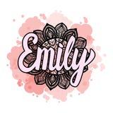 Segnando nome con lettere femminile Emily sulla mandala disegnata a mano della Boemia della struttura per modellare e tendere col illustrazione di stock