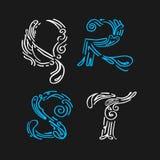 Segnando progettazione-mano con lettere stabilita estratta Fotografie Stock