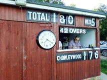 Segnare tettoia alla partita di sabato al club del cricket di Chorleywood, Chorleywood, Hertfordshire, Inghilterra, Regno Unito fotografie stock libere da diritti