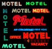 Segni al neon del motel del collage fotografia stock libera da diritti