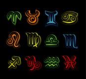 Segni al neon dello zodiaco Fotografia Stock