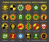 Segni & simboli essenziali di apocalisse delle zombie Fotografie Stock Libere da Diritti