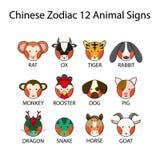 Segni animali dello zodiaco 12 cinesi Fotografia Stock Libera da Diritti