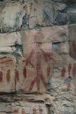 Segni antichi dell'uomo e del controllo di arte della roccia del nativo americano fotografia stock libera da diritti
