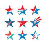 Segni astratti delle stelle - insieme creativo di vettore Raccolta di logo della stella Elemento di disegno Fotografia Stock Libera da Diritti