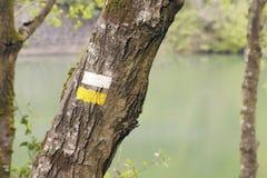 Segni bianchi e gialli di un itinerario di camminata di distanza media Immagini Stock