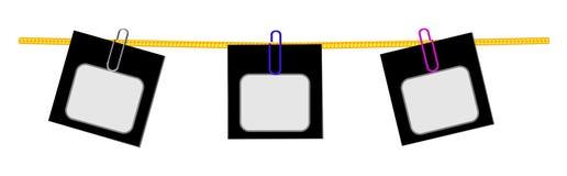Segni in bianco su una corda Fotografie Stock Libere da Diritti