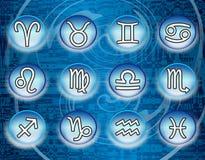Segni blu dello zodiaco Fotografia Stock
