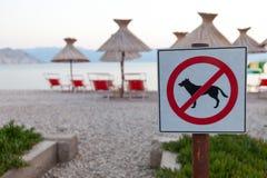 Segni che annunciano il divieto di cani sulla spiaggia Fotografie Stock Libere da Diritti
