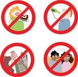 Segni che proibiscono comportamento improprio Fotografia Stock