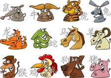 Segni cinesi dello zodiaco Fotografie Stock