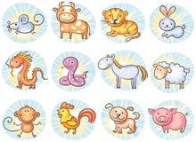 Segni cinesi dello zodiaco Immagini Stock Libere da Diritti