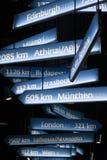 Segni con le città europee Immagini Stock