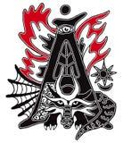 Segni A con lettere Cappuccio di goccia con una storia di fantasia che caratterizza il drago magico del fuoco Illustrazione di ve Fotografia Stock
