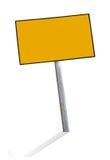 Segni d'acciaio gialli in bianco fotografie stock