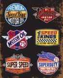 Segni d'annata dell'olio di motore ed insieme di etichetta Fotografie Stock Libere da Diritti