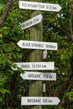 Segni d'annata di viaggio della destinazione della freccia Fotografia Stock