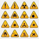 Segni d'avvertimento del triangolo di rischio Immagini Stock