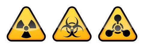 Segni d'avvertimento di vettore messi Segno di radiazione, segnale di rischio biologico, segno delle armi chimiche illustrazione vettoriale