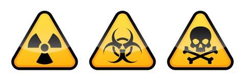 Segni d'avvertimento di vettore Segno di radiazione, segnale di rischio biologico, segno tossico illustrazione di stock