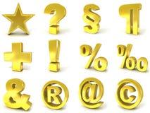 segni 3D e simboli dorati royalty illustrazione gratis