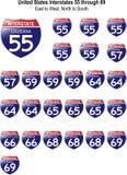 Segni da uno stato all'altro I-55 degli Stati Uniti a I-69 Fotografia Stock Libera da Diritti