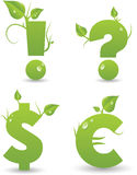 Segni dall'alfabeto floreale verde Fotografie Stock