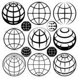 Segni dei globi della terra Fotografie Stock Libere da Diritti