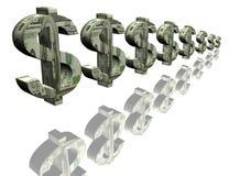 Segni dei soldi del dollaro Fotografia Stock