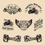 Segni del club del motociclista di vettore Logos di riparazione del motociclo messo Etichette del garage schizzate retro mano Emb Immagini Stock