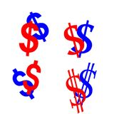 Segni del dollaro Fotografia Stock
