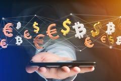 Segni del dollaro, dell'euro e di Bitcoin che volano intorno ad un connectio della rete Immagini Stock