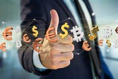 Segni del dollaro, dell'euro e di Bitcoin che volano intorno ad un connectio della rete Fotografie Stock Libere da Diritti