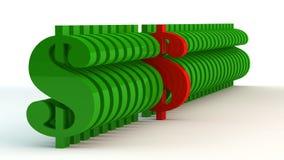 Segni del dollaro di colore verde illustrazione di stock